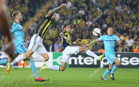 Stock Photo of Fenerbahce's Gregory Van Der Wiel (2-r) Fights For Ball Against Feyenoord's Jens Toornstra (r) During the Uefa Europa League Group a Match Between Fenerbahce and Feyenoord Rotterdam at Sukru Saracoglu Stadium in Istanbul Turkey 29 September 2016 Turkey Istanbul