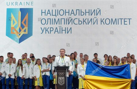 Sergey Bubka (c) Ukraines Noc President and Ioc Eb Member Speaks During a Sending Off Ceremony of the National Olympic Team of Ukraine on the St Sophia Square in Kiev Ukraine 23 July 2016 the Ukrainian Team is Departing to the Training Camp in Preparation For the 2016 Rio Olympic Games Which Will Be Held From 05 to 21 August in Rio De Janeiro Brazil Ukraine Kiev