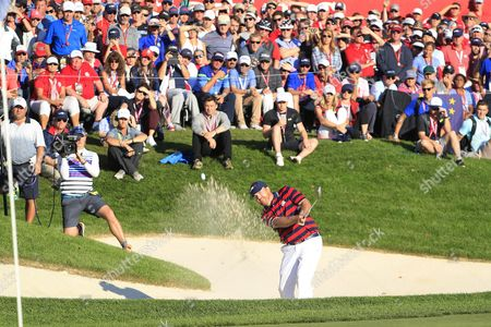J B Holmes of the Us Hits out of a Bunker on the Sixteenth Hole in the Afternoon Four-ball Matches During the Ryder Cup 2016 at the Hazeltine National Golf Club in Chaska Minnesota Usa 01 October 2016 the Ryder Cup 2016 Runs From 29 September to 02 October United States Chaska