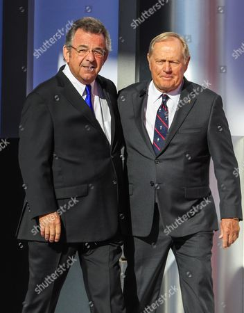 Stock Picture of Former Golfers Jack Nicklaus (r) and Tony Jacklin (l) Walk on Stage Together During Opening Ceremonies For the Ryder Cup 2016 at the Hazeltine National Golf Club in Chaska Minnesota Usa 29 September 2016 the Ryder Cup 2016 Runs From 29 September to 02 October United States Chaska