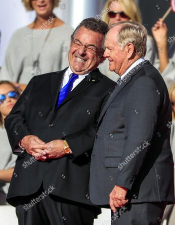 Former English Golfer Tony Jacklin (l) Laughs As He Appears with Former Us Golfer Jack Nicklaus (r) During Opening Ceremonies For the Ryder Cup 2016 at the Hazeltine National Golf Club in Chaska Minnesota Usa 29 September 2016 the Ryder Cup 2016 Runs From 29 September to 02 October United States Chaska