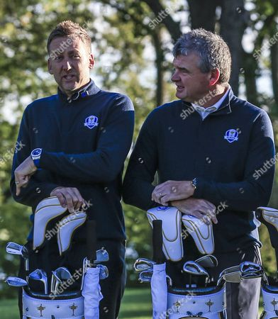 Team Europe Assistant Captains Ian Poulter (l) and Paul Lawrie (r) Stand Together For the Group Photo at the Ryder Cup 2016 at the Hazeltine National Golf Club in Chaska Minnesota Usa 27 September 2016 the Ryder Cup 2016 Runs From 29 September to 02 October United States Chaska