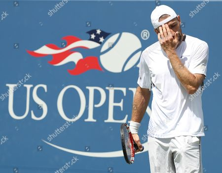 Benjamin Becker of Germany Reacts As He Plays Kei Nishikori of Japan on the Second Day of the Us Open Tennis Championships at the Usta National Tennis Center in Flushing Meadows New York Usa 30 August 2016 the Us Open Runs Through September 11 United States Flushing Meadows