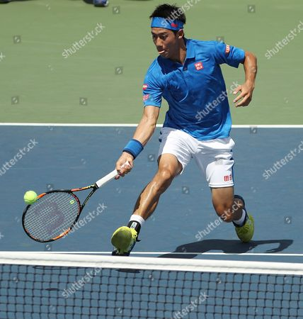 Kei Nishikori of Japan Hits a Return to Benjamin Becker of Germany on the Second Day of the Us Open Tennis Championships at the Usta National Tennis Center in Flushing Meadows New York Usa 30 August 2016 the Us Open Runs Through September 11 United States Flushing Meadows