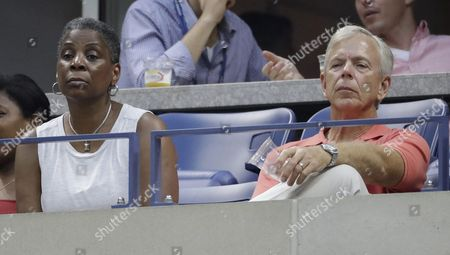 Xerox Ceo Ursula Burns (l) and Verizon Chairman and Ceo Lowell C Mcadam (r) Watch Kei Nishikori of Japan Play Stan Wawrinka of Switzerland During Their Semifinal Round Match on the Twelfth Day of the Us Open Tennis Championships at the Usta National Tennis Center in Flushing Meadows New York Usa 09 September 2016 the Us Open Runs Through September 11 United States Flushing Meadows
