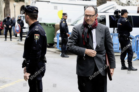 Mario Pascual Vives (R), lawyer of Spanish Princess Cristina's husband Inaki Urdangarin arrives to courts in Palma Majorca, the Balearic Islands, Spain, 23 February 2017. The court in Palma de Mallorca is to decide whether Inaki Urdangarin and his former partner Diego Torres should enter in prison while their appeals are examined. Inaki Urdangarin was sentenced to six years and three months in prison and his former partner, Diego Torres, to eight and half years in prison, after they were found guilty for corruption and tax offences on 17 February in the Noos corruption case. Princess Cristina was acquited of the charges of fraud but was sentenced to pay a fine of 265,000 euros.