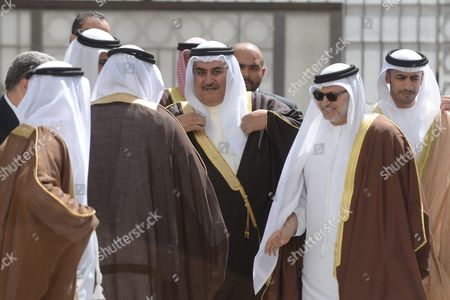 Khalid Bin Ahmed Al-khalifa (c) Foreign Minister of Bahrain Arrives to the Arab Foreign Ministers Urgent Meeting Arab League Headquarters in Cairo Egypt 10 March 2016 the Arab Foreign Ministers Will Choose a New Secretary General For the Arab League to Succeed Nabil Elaraby who Will Finish His Term on 30 June 2016 Egypt Cairo