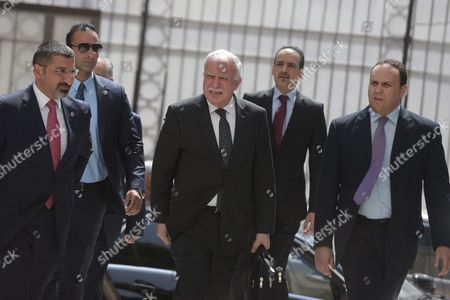 Riyad Al-maliki (c) Foreign Minister of Palestine Arrives to the Arab Foreign Ministers Urgent Meeting Arab League Headquarters in Cairo Egypt 10 March 2016 the Arab Foreign Ministers Will Choose a New Secretary General For the Arab League to Succeed Nabil Elaraby who Will Finish His Term on 30 June 2016 Egypt Cairo