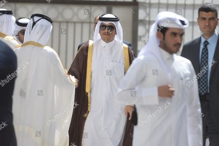Muhammad Ibn Abdul Rahman Al-thani (c) Foreign Minister of Qatar Arrives to the Arab Foreign Ministers Urgent Meeting Arab League Headquarters in Cairo Egypt 10 March 2016 the Arab Foreign Ministers Will Choose a New Secretary General For the Arab League to Succeed Nabil Elaraby who Will Finish His Term on 30 June 2016 Egypt Cairo