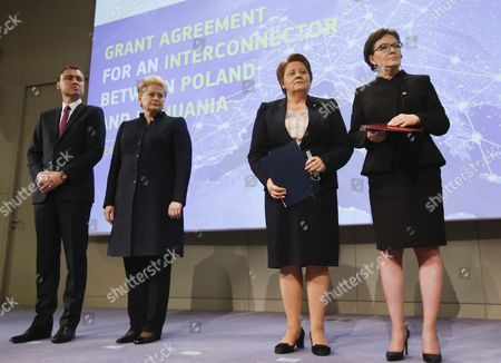 (l-r) Estonia Prime Minister Taavi Roivas Lithuanian President Dalia Grybauskaite Prime Minister of Latvia Laimdota Straujuma and Poland's Prime Minister Ewa Kopacz During a Signature Ceremony For First Gas Interconnector Between Poland and Lithuania on the Side of the Eu Summit in Brussels Belgium 15 October 2015 Eu Heads of State Or Government Will Focus on Migration the Completion of the Economic and Monetary Union and the State of Play on the British Referendum Are Also Topics to Be Discussed Belgium Brussels