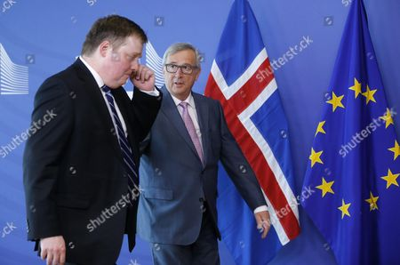 Prime Minister of Iceland Sigmundur David Gunnlaugsson (l) is Welcomed by European Commission President Jean-claude Juncker Ahead of an Emergency Leaders' Summit on Greece at the European Commission in Brussels Belgium 09 July 2015 Belgium Brussels