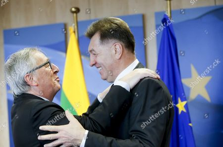 Lithuanian Prime Minister Algirdas Butkevicius is Welcomed by European Commission President Jean-claude Juncker (l) Prior to a Meeting at Eu Commission Headquarters in Brussels Belgium 19 November 2015 Belgium Brussels