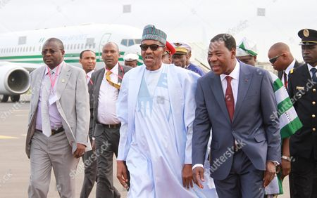 President Yayi Boni (3-r) of Benin Alongside Nigerian President Muhammadu Buhari (c) As They Attend a Military Parade Marking the Countrys 55th Independence Anniversary in Cotonouh Benin 01 August 2015 the Nigerian President is on a One Day Visit to the Benin to Discuss the Regional Fight Against Boko Haram Benin Forms Part of a Multinational Joint Taskforce Against Boko Haram was Due to Be Launched Officially at the End of July 2015 Benin Cotonou