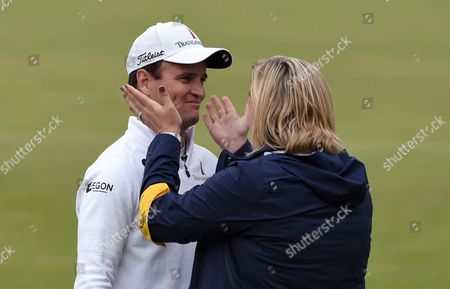 Us Golfer Zack Johnson (left) is Embraced by His Wife Kim Barclay After Winning a Play Off on the Final Day at the British Open Golf Championship at St Andrews Scotland Britain 20 July 2015 United Kingdom St Andrews