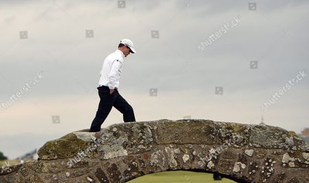 Us Golfer Zack Johnson Walks Over Swilcan Bridge on the 18th Hole of the British Open Golf Championship at St Andrews Scotland Britain 20 July 2015 United Kingdom St Andrews