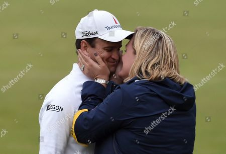 Us Golfer Zack Johnson (left) Kisses His Wife Kim Barclay After Winning a Play Off on the Final Day to Win the British Open Golf Championship at St Andrews Scotland Britain 20 July 2015 United Kingdom St Andrews