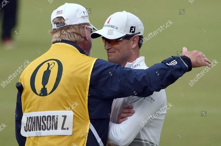 Us Golfer Zack Johnson (right) is Hugged by His Caddy After Winning a Play Off on the Final Day at the British Open Golf Championship at St Andrews Scotland Britain 20 July 2015 United Kingdom St Andrews