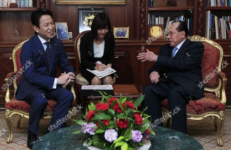 Japanese Deputy Minister of Foreign Affairs Masakazu Hamachi (l) Attends a Meeting with Cambodian Deputy Prime Minister and Foreign Minister Hor Namhong (r) at the Ministry of Foreign Affairs and International Cooperation in Phnom Penh Cambodia 21 March 2016 the Government of Japan Granted 4 715 Million Yen (about 37 Million Euro) Aid to the Cambodia For Two Development Projects Cambodia Phnom Penh