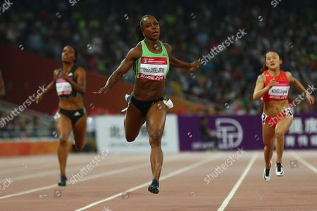 Veronica Campbell Brown of Jamaica (c) in Action During the Women's 200m Final of the Iaaf World Challenge at the Beijing National Stadium Also Known As the Bird's Nest Beijing China 18 May 2016 China Beijing