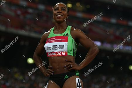 Veronica Campbell Brown of Jamaica Reacts After Winning the Women's 200m Final of the Iaaf World Challenge at the Beijing National Stadium Also Known As the Bird's Nest Beijing China 18 May 2016 China Beijing