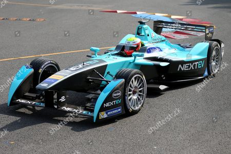 British Driver Oliver Turvey of Nextev Tcr Formula E Team in Action During a Qualifying Session of the Fia Formula E Championship Racing Series at the Olympic Park in Beijing China 24 October 2015 China Beijing