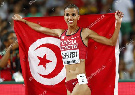 Habiba Ghribi of Turkey Celebrates After Placing Second in the Women's 3000m Steeplechase Final During the Beijing 2015 Iaaf World Championships at the National Stadium Also Known As Bird's Nest in Beijing China 26 August 2015 China Beijing