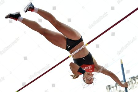 Germany's Silke Spiegelburg Competes in the Women's Pole Vault Qualification During the Beijing 2015 Iaaf World Championships at the National Stadium Also Known As Bird's Nest in Beijing China 24 August 2015 China Beijing