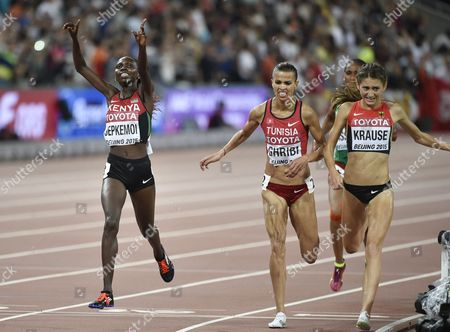 Hyvin Kiyeng Jepkemoi of Kenya Beats Habiba Ghribi (c) of Turkey and Gesa Felicitas Krause Germany to the 2nd and 3rd Place Respectively in the Women's 3000m Steeplechase Final During the Beijing 2015 Iaaf World Championships at the National Stadium Also Known As Bird's Nest in Beijing China 26 August 2015 China Beijing