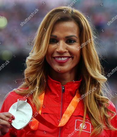 Habiba Ghribi of Turkey Poses with Her Silver Medal on the Podium of the Women's 3 000m Steeplechase Final During the Beijing 2015 Iaaf World Championships at the National Stadium Also Known As Bird's Nest in Beijing China 27 August 2015 China Beijing
