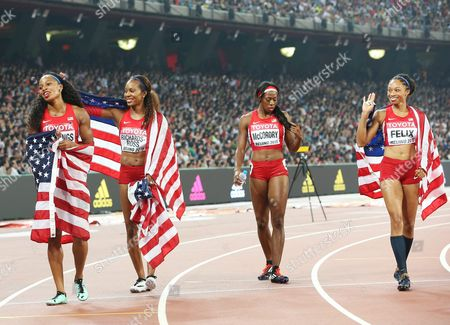 Usa's (from Left) Natasha Hastings Sanya Richards-ross Francena Mccorory and Allyson Felix After Placing Second in the Women's 4x400m Relay Final During the Beijing 2015 Iaaf World Championships at the National Stadium Also Known As Bird's Nest in Beijing China 30 August 2015 China Beijing
