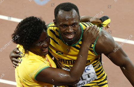 Jamaica's Usain Bolt Celebrates with His Mother Jennifer Bolt After Winning the Gold Medal in the Men's 100m Final During the Beijing 2015 Iaaf World Championships at the National Stadium Also Known As Bird's Nest in Beijing China 23 August 2015 China Beijing