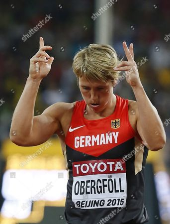 Germany's Christina Obergfoell Reacts During the Women's Javelin Throw Qualification of the Beijing 2015 Iaaf World Championships at the National Stadium Also Known As Bird's Nest in Beijing China 28 August 2015 China Beijing