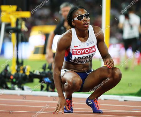 Stock Photo of Margaret Adeoye of Great Britain Looks at the Results After Competing in the Women's 200m Semi Final During the Beijing 2015 Iaaf World Championships at the National Stadium Also Known As Bird's Nest in Beijing China 27 August 2015 China Beijing