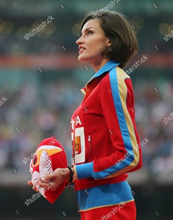 Russia's Anna Chicherova Smiles on the Podium After Winning the Bronze Medal in the Women's High Jump Final of the Beijing 2015 Iaaf World Championships at the National Stadium Also Known As Bird's Nest in Beijing China 30 August 2015 China Beijing