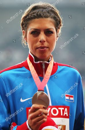 Silver Medal Winner Blanka Vlasic of Croatia on the Podium During the Medal Ceremony For the Women's High Jump Final of the Beijing 2015 Iaaf World Championships at the National Stadium Also Known As Bird's Nest in Beijing China 30 August 2015 China Beijing