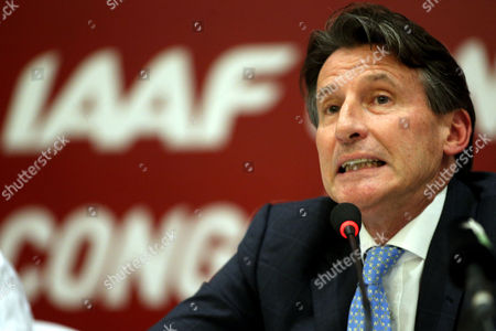 New Iaaf President Former British Olympic Medalist Sebastian Coe Reacts As He Attends a Press Conference After Winning the Iaaf Elections at China National Convention Centre in Beijing China 19 August 2015 Coe 58 Has Been Elected President of the Ruling Athletics Body International Association of Athletics Federations (iaaf) on 19 August 2015 Beating Ukraine's Sergey Bubka 115-92 Coe Succeeds Senegal's Lamine Diack who is Stepping Down After 16 Years in Office China Beijing