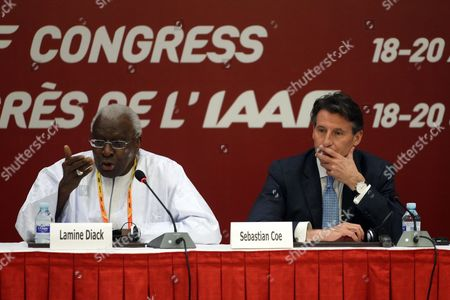 Former Iaaf President Lamine Diack (l) and New Iaaf President Former British Olympic Medalist Sebastian Coe Attend a Press Conference After the Iaaf Elections at China National Convention Centre in Beijing China 19 August 2015 Coe 58 Has Been Elected President of the Ruling Athletics Body International Association of Athletics Federations (iaaf) on 19 August 2015 Beating Ukraine's Sergey Bubka 115-92 Coe Succeeds Senegal's Lamine Diack who is Stepping Down After 16 Years in Office China Beijing