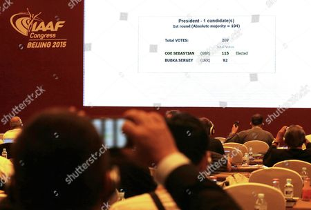 A Large Screen Displaying Voting Results of the Iaaf Elections at China National Convention Centre in Beijing City China 19 August 2015 Former British Olympic Medalist Sebastian Coe 58 Has Been Elected President of the Ruling Athletics Body International Association of Athletics Federations (iaaf) on 19 August 2015 Beating Ukraine's Sergey Bubka 115-92 China Beijing