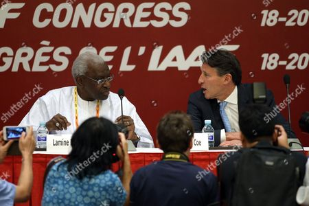 Former Iaaf President Lamine Diack (l) and New Iaaf President Former British Olympic Medalist Sebastian Coe (r) Attend a Press Conference After the Iaaf Elections at China National Convention Centre in Beijing China 19 August 2015 Coe 58 Has Been Elected President of the Ruling Athletics Body International Association of Athletics Federations (iaaf) on 19 August 2015 Beating Ukraine's Sergey Bubka 115-92 Coe Succeeds Senegal's Lamine Diack who is Stepping Down After 16 Years in Office China Beijing