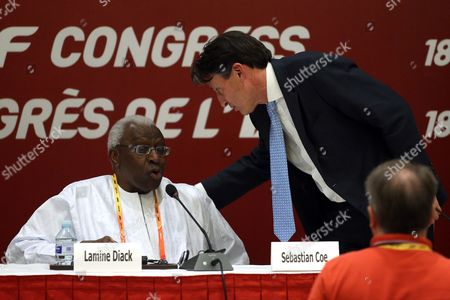 Former Iaaf President Lamine Diack (l) and Former British Olympic Medalist Sebastian Coe Attend Iaaf Press Conference After Winning the Iaaf Elections at China National Convention Centre in Beijing China 19 August 2015 Coe 58 Has Been Elected President of the Ruling Athletics Body International Association of Athletics Federations (iaaf) on 19 August 2015 Beating Ukraine's Sergey Bubka 115-92 Coe Succeeds Senegal's Lamine Diack who is Stepping Down After 16 Years in Office China Beijing