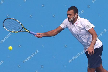 Jo-wilfried Tsonga of France in Action During the Match Against Andreas Haider-maurer of Austria in the China Open Tennis Tournament at the National Tennis Center in Beijing China 05 October 2015 China Beijing