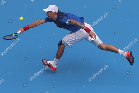 Andreas Haider-maurer of Austria in Action During the Match Against Jo-wilfried Tsonga of France in the China Open Tennis Tournament at the National Tennis Center in Beijing China 05 October 2015 China Beijing