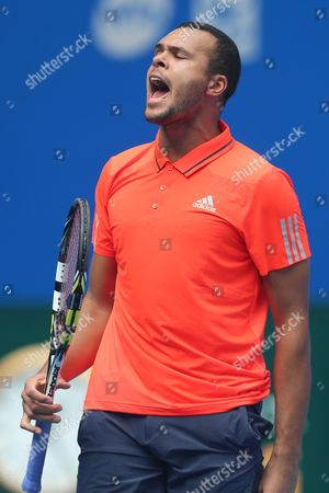 Jo-wilfried Tsonga of France Reacts During the Match Against Andreas Haider-maurer of Austria in the China Open Tennis Tournament at the National Tennis Center in Beijing China 05 October 2015 China Beijing