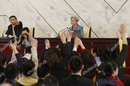 Fu Ying (r) Spokesperson For the Fourth Session of the 12th National People's Congress (npc) Waits For Questions During a Press Conference at the Great Hall of the People (ghop) in Beijing China 04 March 2016 the Fourth Session of the 12th National People's Congress (npc) Will Open on 05 March 2016 China Beijing