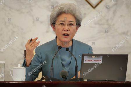 Fu Ying Spokesperson For the Fourth Session of the 12th National People's Congress (npc) Answers Questions During a Press Conference at the Great Hall of the People (ghop) in Beijing China 04 March 2016 the Fourth Session of the 12th National People's Congress (npc) Will Open on 05 March 2016 China Beijing