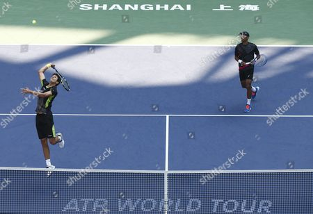 Raven Klaasen (r) of South Africa and Marcelo Melo (l) of Brazil in Action Against Simone Bolelli of Italy and Fabio Fognini of Italy During Their Doubles Final Match in the Shanghai Tennis Masters at the Qi Zhong Tennis Center in Shanghai China 18 October 2015 China Shanghai