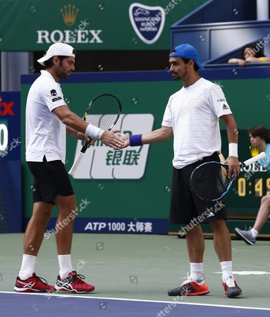 Simone Bolelli (l) and Fabio Fognini (r) Both of Italy Clap Hands in Their Match Against Raven Klaasen of South Africa and Marcelo Melo of Brazil During the Doubles Final in the Shanghai Tennis Masters at the Qi Zhong Tennis Center in Shanghai China 18 October 2015 China Shanghai
