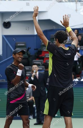 Raven Klaasen (l) of South Africa and Marcelo Melo (r) of Brazil Celebrate After Winning Their Doubles Final Match Against Simone Bolelli of Italy and Fabio Fognini of Italy in the Shanghai Tennis Masters at the Qi Zhong Tennis Center in Shanghai China 18 October 2015 China Shanghai