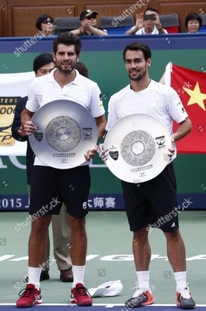 Simone Bolelli (l) and Fabio Fognini (r) Both of Italy Hold Their Runner-up Awards After the Doubles Final Match Against Raven Klaasen of South Africa and Marcelo Melo of Brazil in the Shanghai Tennis Masters at the Qi Zhong Tennis Center in Shanghai China 18 October 2015 China Shanghai