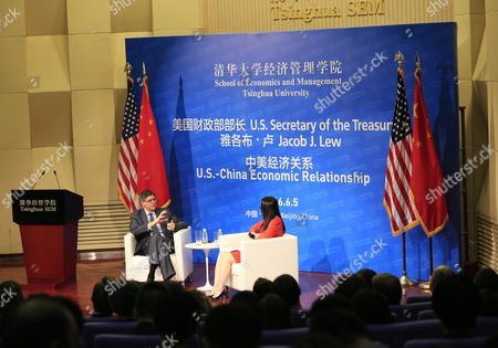 Us Treasury Secretary Jack Lew (l) Speaks to Moderator Yang Yanqing Deputy Editor-in-chief of Yicai Newspaper During a Discussion on Us-china Economic Relations at Tsinghua University School of Economics and Management in Beijing China 05 June 2016 Lew is in Beijing to Participate in the Eighth Us-china Strategic and Economic Dialogue on 6-7 June China Beijing